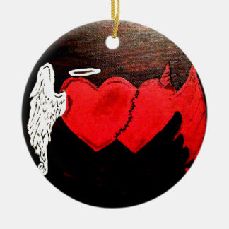 a match between heaven and hell round ceramic decoration