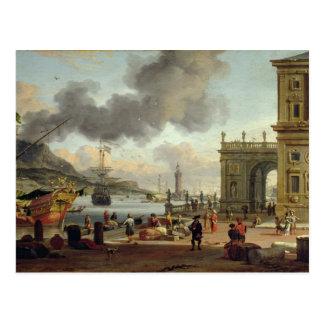 A Mediterranean Harbour Scene Postcard