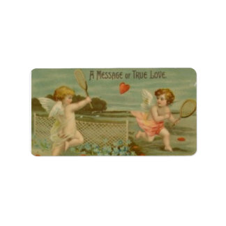 """""""A Message of Love"""" Vintage Tennis Playing Cupids Address Label"""