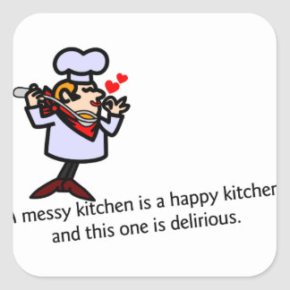 A Messy Kitchen Square Sticker