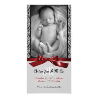 A Modern Damask Baby Birth Announcement Personalized Photo Card