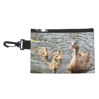 A Mottled Mother Duck with Her Babies in a Pond Accessory Bags