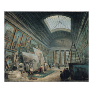 A Museum Gallery with Ancient Roman Art Poster