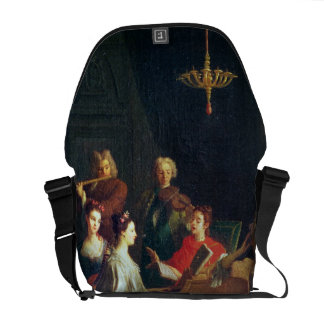 A Musical Evening (oil on canvas) Messenger Bags