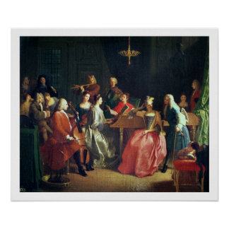 A Musical Evening (oil on canvas) Print