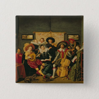 A Musical Party, c.1625 15 Cm Square Badge