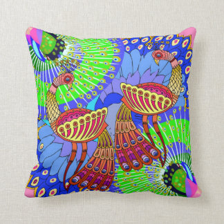 A pair of colorful Peacocks -  Room Decor Pillow