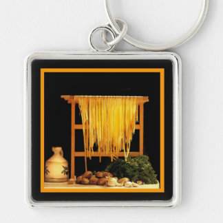 A Pasta Feast Silver-Colored Square Key Ring