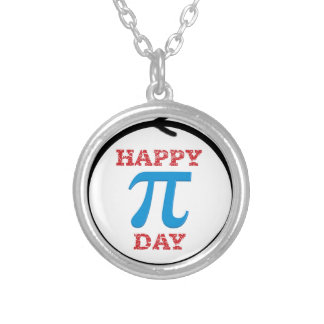 A perfect Pi Day circle Silver Plated Necklace