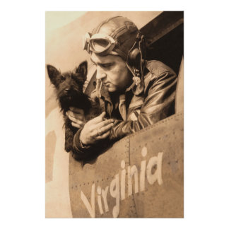A pilots best friend - Terrier and fighter pilot Poster