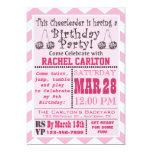 "A Pink Cheerleading Birthday Party Invitation 5"" X 7"" Invitation Card"