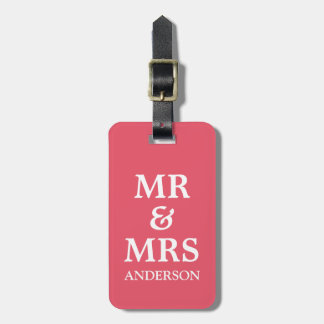 A Pink Mr Mrs Purple Honeymoon Wedding Travel Tag