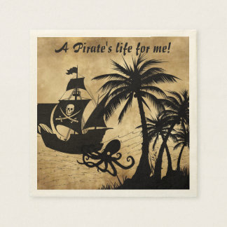 A Pirate's Life For Me Caribbean Treasure Map Paper Napkins