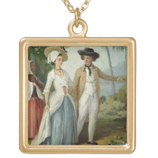 A Planter and his Wife, Attended by a Servant, c.1 Gold Plated Necklace