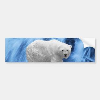 A polar Bear at the frozen waterfall Car Bumper Sticker