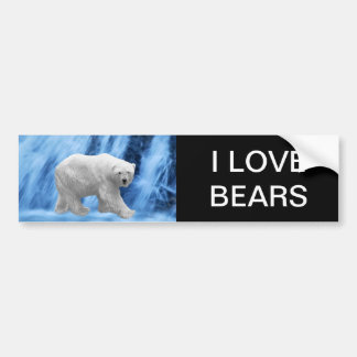 A polar Bear at the frozen waterfall Bumper Sticker