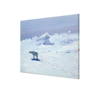 A Polar Bear Hunting in Moonlit Night, 1899 Canvas Print