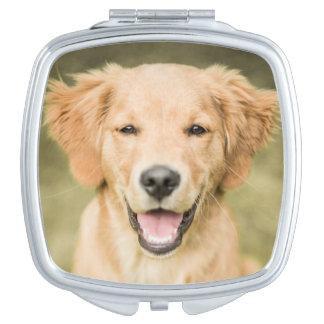 A Portrait Of A Golden Retriever Puppy Compact Mirror