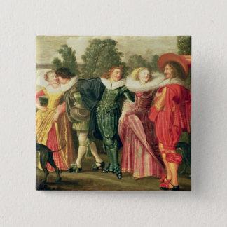 A Promenade in the Garden, c.1623 15 Cm Square Badge