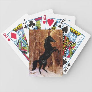 A rearing stallion in winter bicycle playing cards
