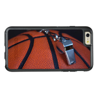 A referee's whistle rests on top of a OtterBox iPhone 6/6s plus case