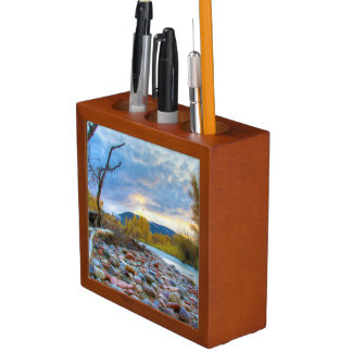 A River With Stones In Autumn Mountains Desk Organizer