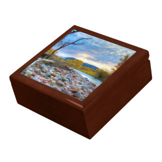A River With Stones In Autumn Mountains Keepsake Box