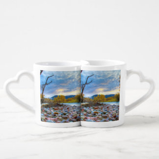 A River With Stones In Autumn Mountains Lovers Mug Set