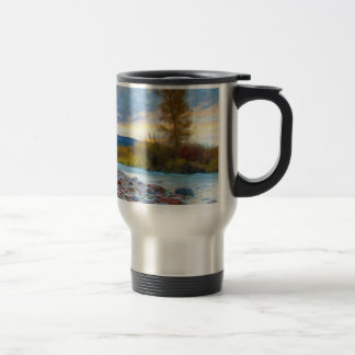 A River With Stones In Autumn Mountains Mugs
