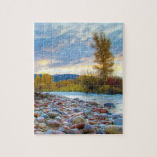 A River With Stones In Autumn Mountains Jigsaw Puzzles