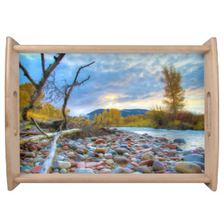 A River With Stones In Autumn Mountains Service Tray