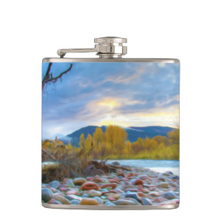 A River With Stones In Autumn Mountains Hip Flask