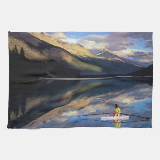 A rower on Banff Lake in the Canada MR) Tea Towel