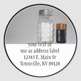 A Salt and Battery Round Sticker