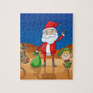 a santa claus and a reindeer jigsaw puzzle