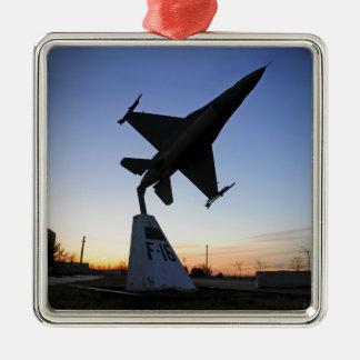 A scale model of an F-16 C Fighting Falcon Silver-Colored Square Decoration