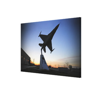 A scale model of an F-16 C Fighting Falcon Stretched Canvas Print
