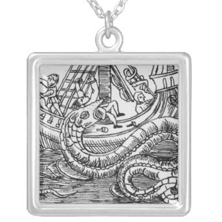 A Sea Serpent Silver Plated Necklace