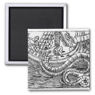 A Sea Serpent Square Magnet