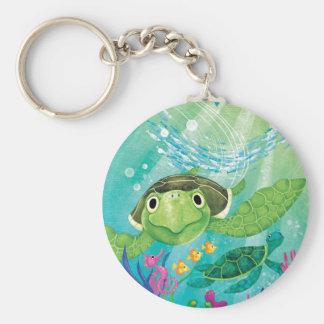 A Sea Turtle Rescue Basic Round Button Key Ring