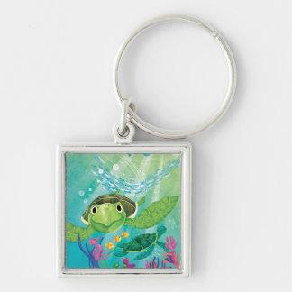 A Sea Turtle Rescue Silver-Colored Square Key Ring