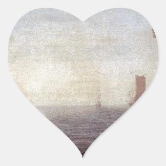 A Seaport at Sunrise by Claude Lorrain Heart Sticker