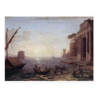 A Seaport at Sunrise by Claude Lorrain Postcard