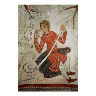 A shepherd playing a flageolet poster