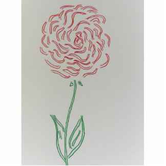 A SINGLE RED ROSE STANDING PHOTO SCULPTURE