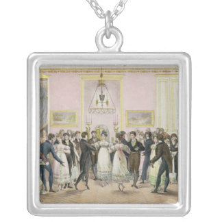 A Society Ball, engraved by Charles Etienne Silver Plated Necklace