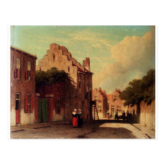 A Sunlit Townview With Figures Conversing by Johan Postcard