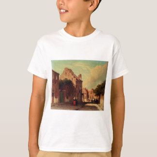 A Sunlit Townview With Figures Conversing by Johan T-Shirt