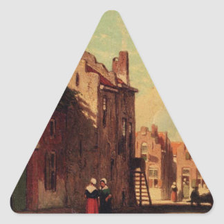 A Sunlit Townview With Figures Conversing by Johan Triangle Sticker