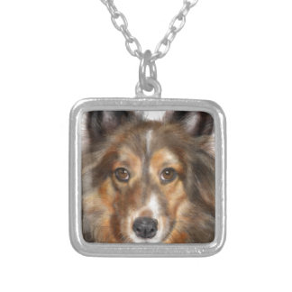 A Sweet Sheltie Silver Plated Necklace